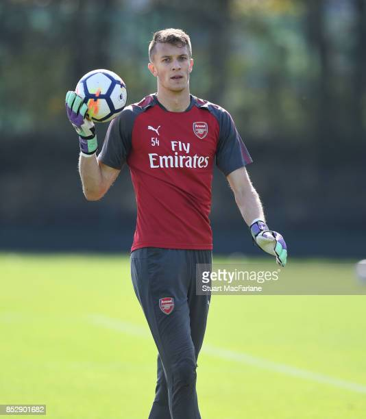 Matt Macey of Arsenal during a training session at London Colney on September 24 2017 in St Albans England