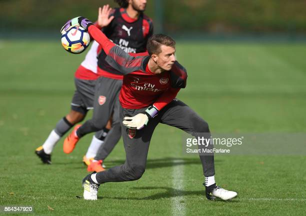 Matt Macey of Arsenal during a training session at London Colney on October 21 2017 in St Albans England
