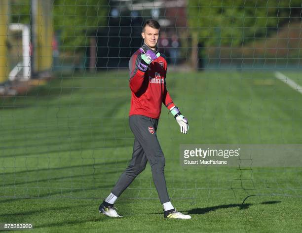 Matt Macey of Arsenal during a training session at London Colney on November 17 2017 in St Albans England