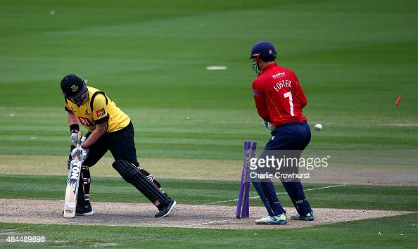 Matt Machan of Sussex looks on having been bowled out by Essex's Aron Nijjar during the Royal London OneDay Cup match between Sussex Sharks and Essex...