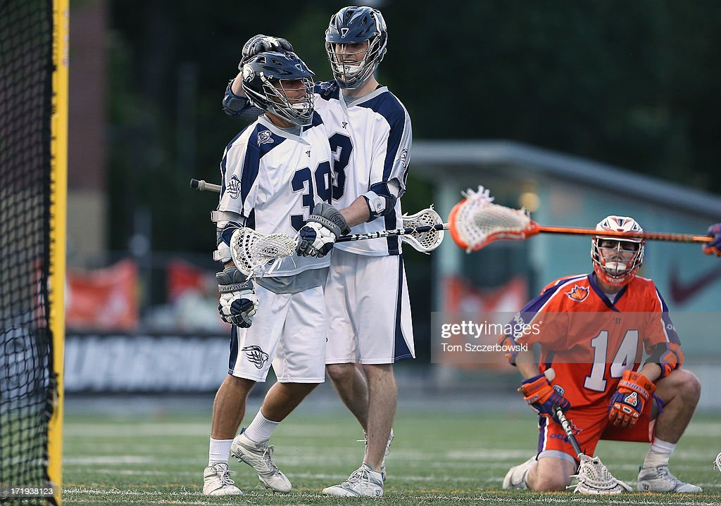 Matt Mackrides #39 of the Chesapeake Bayhawks celebrates his goal with <a gi-track='captionPersonalityLinkClicked' href=/galleries/search?phrase=Matt+Abbott&family=editorial&specificpeople=5358823 ng-click='$event.stopPropagation()'>Matt Abbott</a> #3 during Major League Lacrosse game action against the Hamilton Nationals on June 29, 2013 at Ron Joyce Stadium in Hamilton, Ontario, Canada.