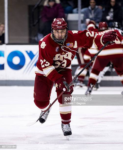 Matt Marcinew of the Denver Pioneers skates against the Providence College Friars during NCAA hockey at the Schneider Arena on December 30 2016 in...