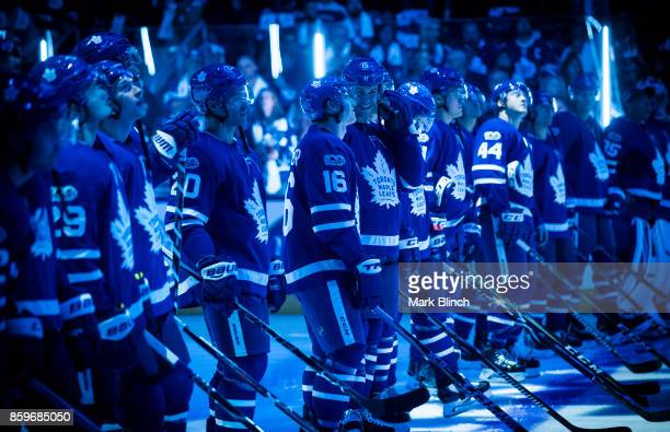 Matt Martin and Mitchell Marner of the Toronto Maple Leafs smile during player introductions prior to the game against the New York Rangers October 7...