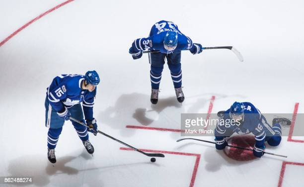 Matt Martin Auston Matthews and Mitchell Marner of the Toronto Maple Leafs during warm up prior to the game against the New Jersey Devils at the Air...
