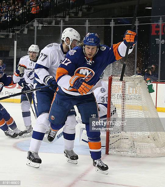 Matt Martin of the New York Islanders celebrates his goal at 1100 of the second period against the Tampa Bay Lightning at the Barclays Center on...
