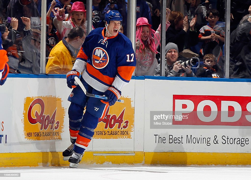 Matt Martin #17 of the New York Islanders celebrates his second period goal at 16:23 during the game against the Tampa Bay Lightning at Nassau Veterans Memorial Coliseum on January 21, 2013 in Uniondale, New York.