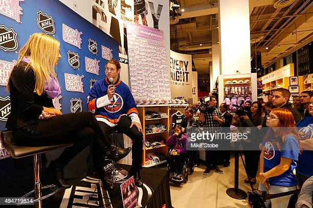 Matt Martin of the New York Islanders discuss Hockey Fights Cancer Awarness Month and the Launch of the Matt Martin Foundation at NHL Powered by...