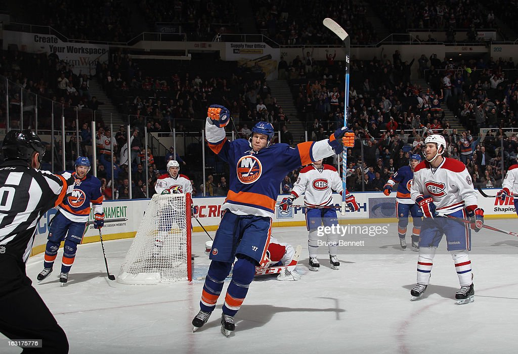 Matt Martin #17 of the New York Islanders scores a powerplay goal at 12:10 of the second period against the Montreal Canadiens at the Nassau Veterans Memorial Coliseum on March 5, 2013 in Uniondale, New York.