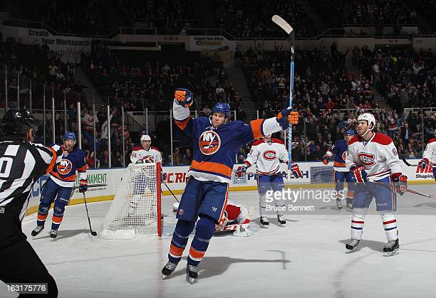 Matt Martin of the New York Islanders scores a powerplay goal at 1210 of the second period against the Montreal Canadiens at the Nassau Veterans...