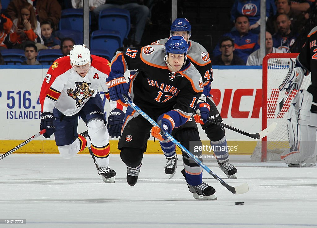 Matt Martin #17 of the New York Islanders skates against the Florida Panthers at the Nassau Veterans Memorial Coliseum on March 24, 2013 in Uniondale, New York. The Islanders defeated the Panthers 3-0.