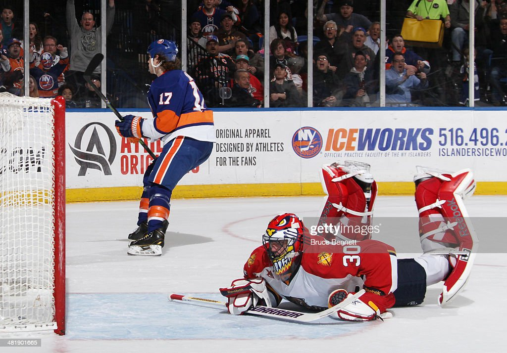 Matt Martin of the New York Islanders skates away after scoring at 1736 of the second period against Scott Clemmensen of the Florida Panthers at the...