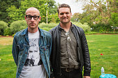Matt Maust and Nathan Willett of Cold War Kids pose for a portrait backstage during Summer End Camp hosted by 1077 The End at Marymoor Park on August...