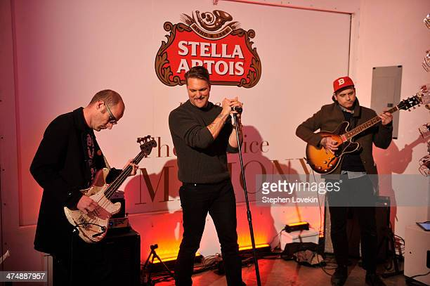 Matt Maust Nathan Willett and Dann Gallucci of the band Cold War Kids perform at Stella Artois Chalice Symphony launch event in New York City on...