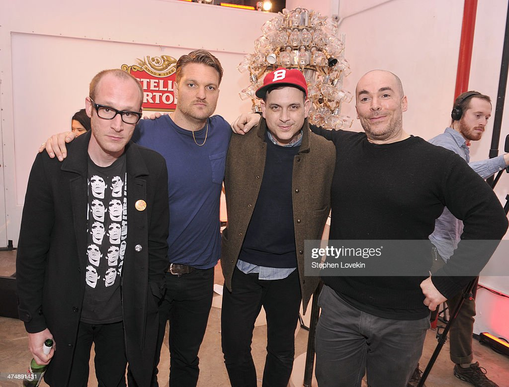 Matt Maust Nathan Willett and Dann Gallucci of the Cold War Kids pose with MIT Sonic Inventor Andy Cavatorta at Stella Artois Chalice Symphony launch...