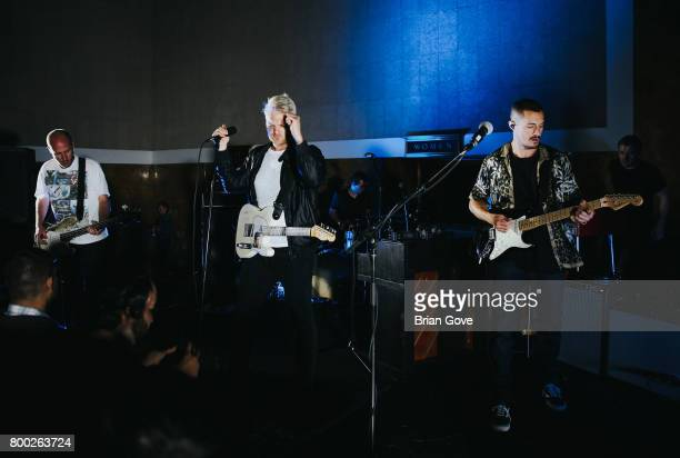 Matt Maust Nathan Willett and David Quon of Cold War Kids perform at Union Station on June 23 2017 in Los Angeles California