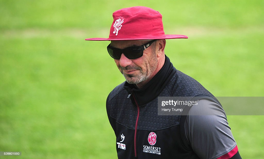 Matt Maynard, Director of Cricket of Somerset during Day One of the Specsavers County Championship match between Somerset and Lancashire at the County Ground on May 01, 2016 in Somerset, United Kingdom.