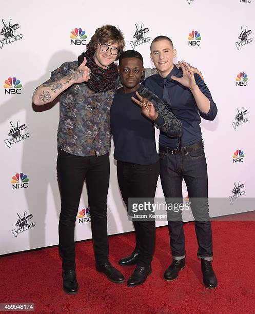 Matt McAndrew Damien and Chris Jamison attend NBC's 'The Voice' Season 7 Red Carpet Event at Universal CityWalk on November 24 2014 in Universal City...
