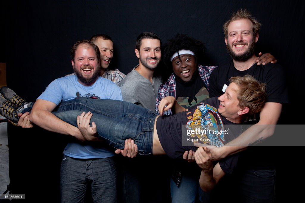 Matt McCaughan, Colin Stetson, Sean Carey, Reggie Pace, Justin Vernon, Mike Noyce of Bon Iver pose for a portrait backstage after their performance at vitaminwater Fader uncapped at the The Angel Orensanz Foundation on September 24, 2012 in New York City.