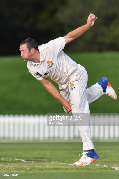 Matt McEwan of Wellington bowling during the Plunket Shield match between Canterbury and Wellington on March 29 2017 in Christchurch New Zealand
