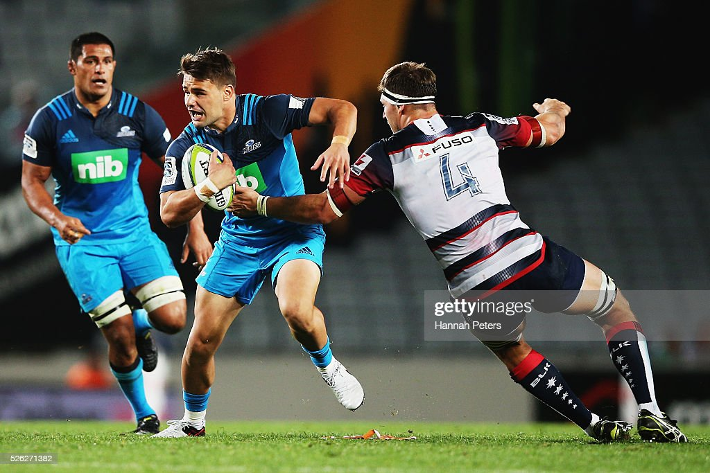 Matt McGahan of the Blues charges forward during the Super Rugby round ten match between the Blues and the Melbourne Rebels at Eden Park on April 30, 2016 in Auckland, New Zealand.