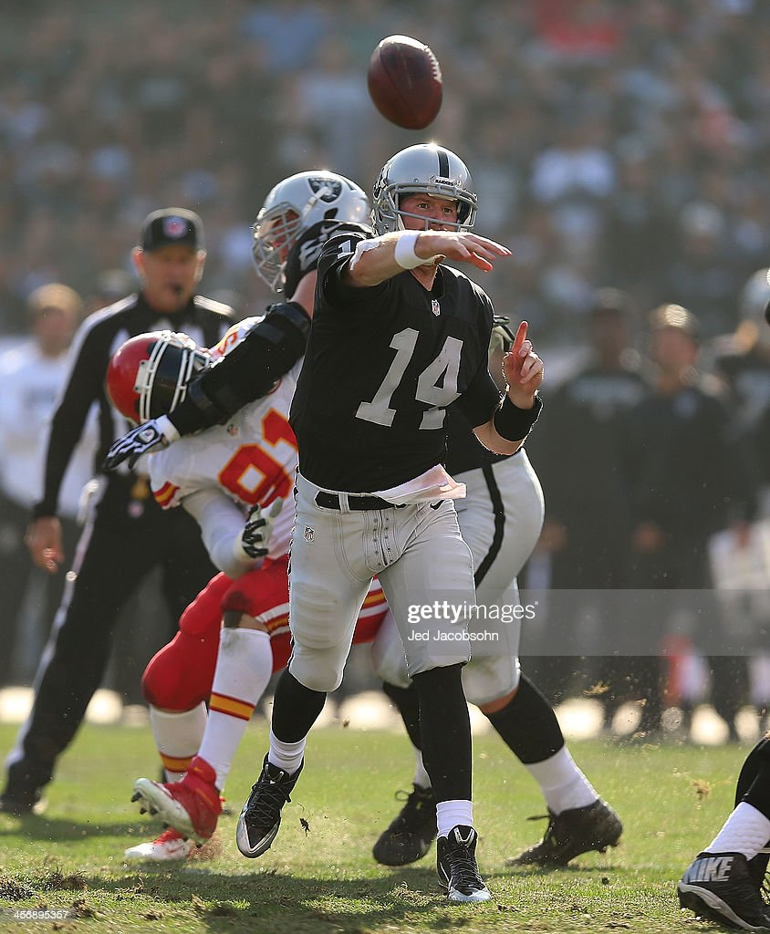 <a gi-track='captionPersonalityLinkClicked' href=/galleries/search?phrase=Matt+McGloin&family=editorial&specificpeople=7301322 ng-click='$event.stopPropagation()'>Matt McGloin</a> #14 of the Oakland Raiders passes against the Kansas City Chiefs at O.co Coliseum on December 15, 2013 in Oakland, California.