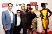 Matt McGorry Lea DeLaria Piper Kerman Jackie Cruz Yael Stone Dascha Polanco and Uzo Aduba attend the 'Derek' New York Premiere at the Museum of...