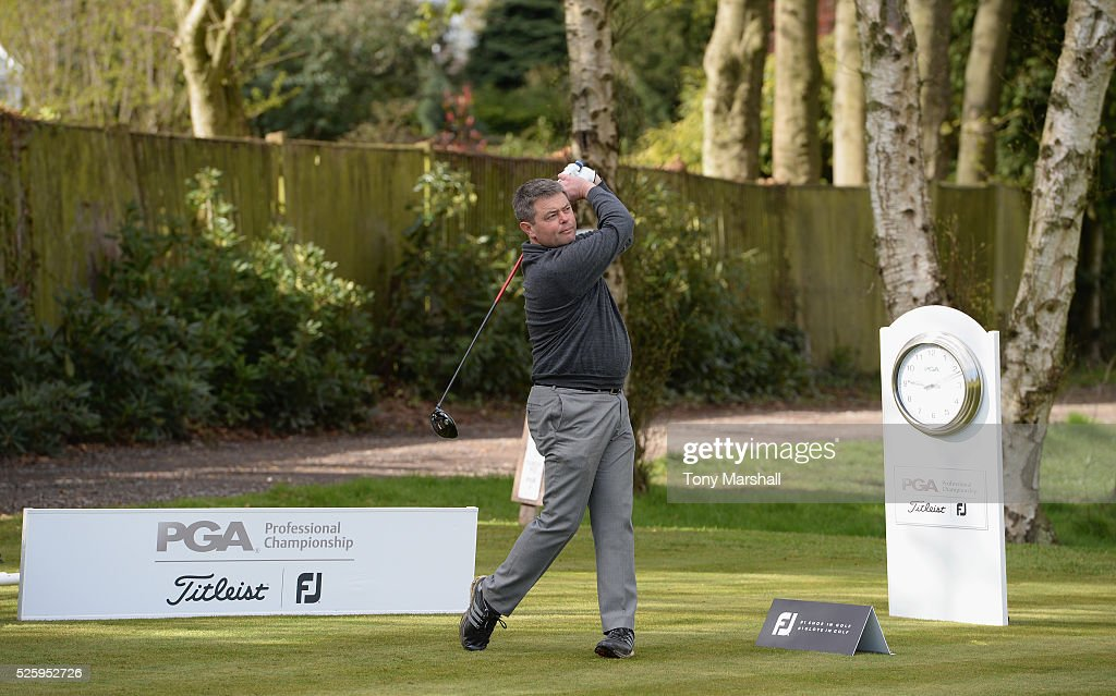 Matt McGuire of Little Lakes Golf Club plays his first shot on the 1st tee during the PGA Professional Championship - Midland Qualifier at Little Aston Golf Club on April 29, 2016 in Sutton Coldfield, England.