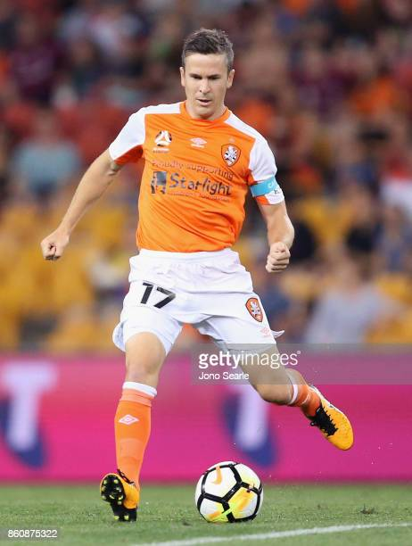 Matt McKay of Brisbane runs with the ball during the round two ALeague match between the Brisbane Roar and Adelaide United at Suncorp Stadium on...