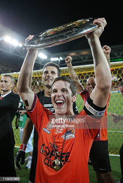 Matt McKay of the Roar celebrates victory in the ALeague Grand Final match between the Brisbane Roar and the Central Coast Mariners at Suncorp...