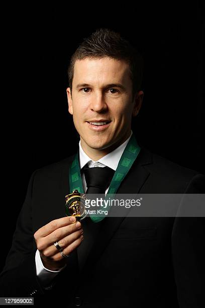 Matt McKay poses after winning the PFA Footballer of the Year Award during the Australian Football Awards at the Sheraton on the Park on October 4...