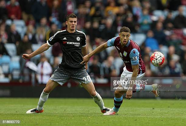 Matt Miazga of Chelsea and Rudy Gestede of Aston Villa during the Barclays Premier League match between Aston Villa and Chelsea at Villa Park on...