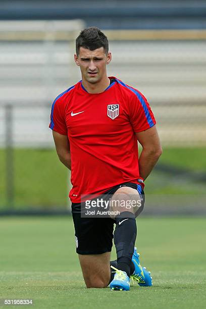 Matt Miazga of the US Men's National team stretches prior to a training session on May 17 2016 at Buccaneer Field on the campus of Barry University...