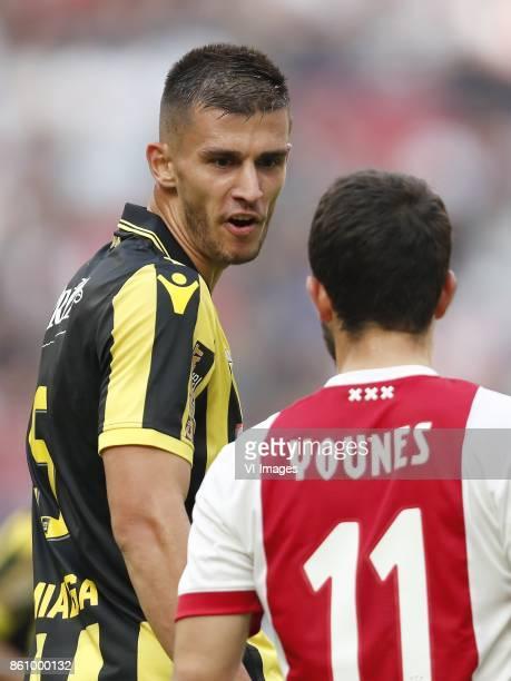 Matt Miazga of Vitesse Amin Younes of Ajax during the Dutch Eredivisie match between Ajax Amsterdam and Vitesse Arnhem at the Amsterdam Arena on...