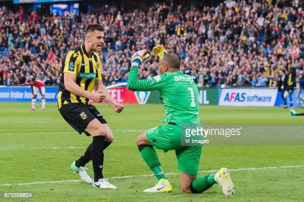Matt Miazga of Vitesse goalkeeper Elroy Room of Vitesseduring the Dutch Cup Final match between AZ Alkmaar and Vitesse Arnhem on April 30 2017 at the...