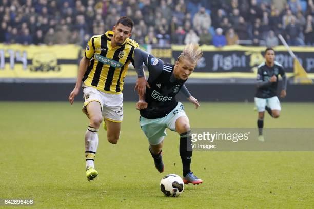 Matt Miazga of Vitesse Kasper Dolberg of Ajaxduring the Dutch Eredivisie match between Vitesse Arnhem and Ajax Amsterdam at Gelredome on February 19...