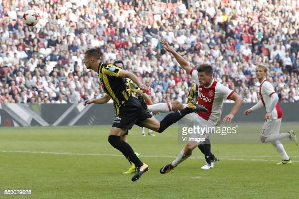 Matt Miazga of Vitesse Klaas Jan Huntelaar of Ajax Kasper Dolberg of Ajax during the Dutch Eredivisie match between Ajax Amsterdam and Vitesse Arnhem...