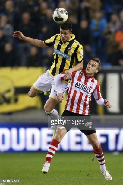Matt Miazga of Vitesse Martin Pusic of Sparta Rotterdamduring the Dutch Eredivisie match between Vitesse Arnhem and Sparta Rotterdam at Gelredome on...