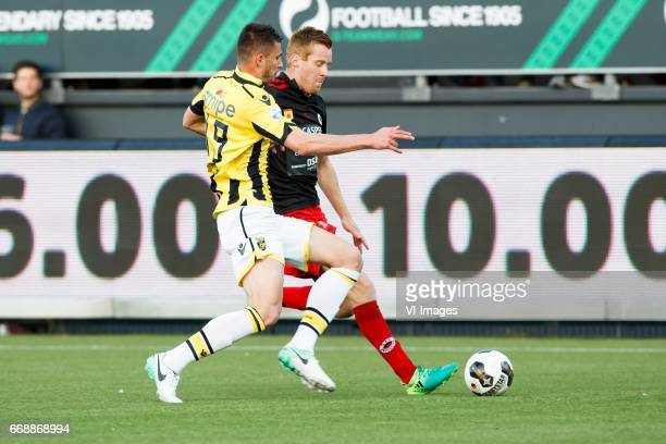 Matt Miazga of Vitesse Mike van Duinen of Excelsiorduring the Dutch Eredivisie match between sbv Excelsior Rotterdam and Vitesse Arnhem at...