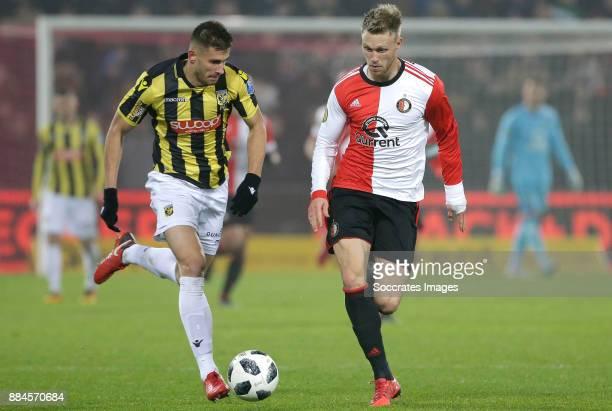 Matt Miazga of Vitesse Nicolai Jorgensen of Feyenoord during the Dutch Eredivisie match between Feyenoord v Vitesse at the Stadium Feijenoord on...