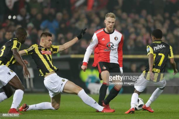 Matt Miazga of Vitesse Nicolai Jorgensen of Feyenoord Thulani Serero of Vitesse during the Dutch Eredivisie match between Feyenoord v Vitesse at the...