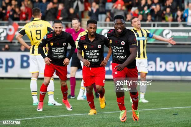 Matt Miazga of Vitesse Stanley Elbers of Excelsior referee Ed Janssen Fredy Ribeiro of Excelsior Nigel Hasselbaink of Excelsior Guram Kashia of...