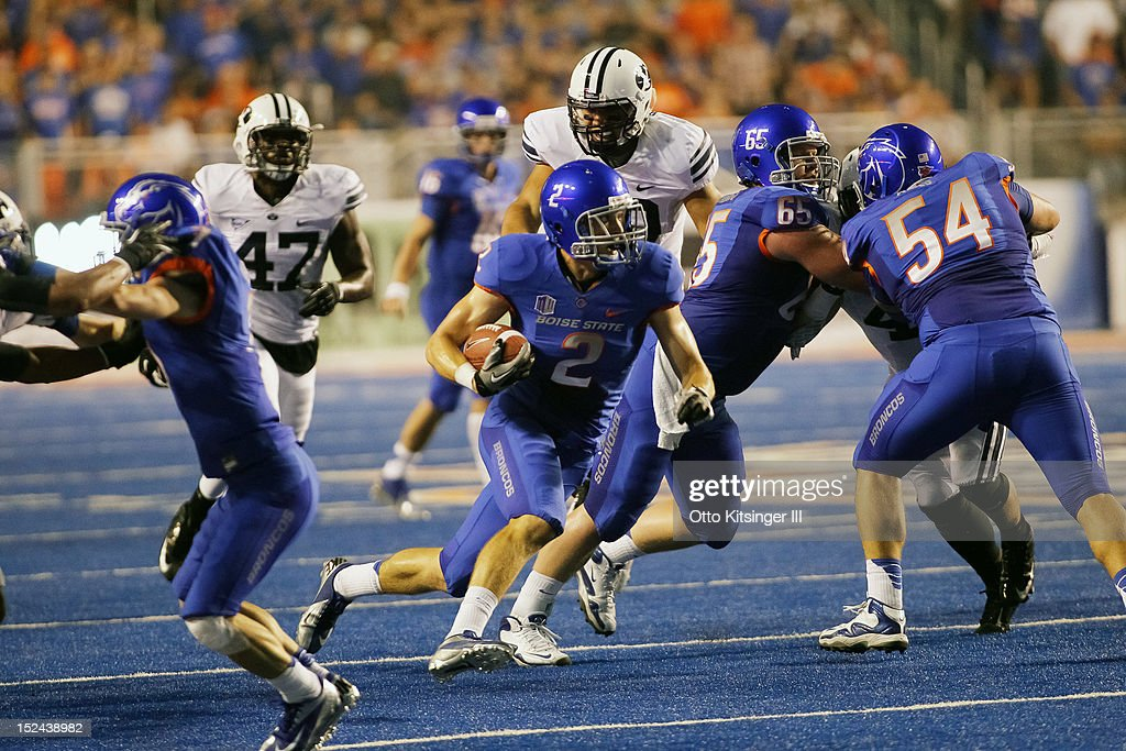 Matt Miller #2 of the Boise State Broncos runs the ball against the BYU Cougars at Bronco Stadium on September 20, 2012 in Boise, Idaho.