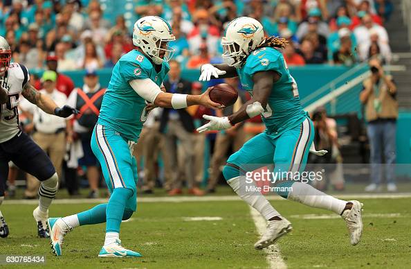 Matt Moore of the Miami Dolphins hands off to Jay Ajayi during a game against the New England Patriots at Hard Rock Stadium on January 1 2017 in...