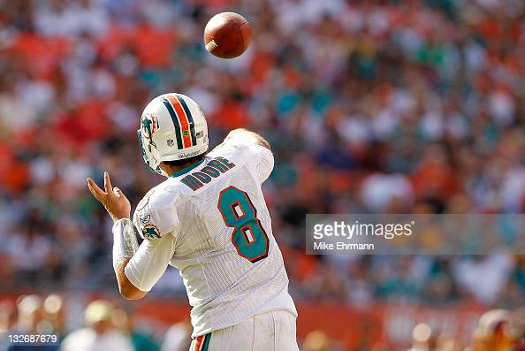 Matt Moore of the Miami Dolphins passes during a game against the Washington Redskins at Sun Life Stadium on November 13 2011 in Miami Gardens Florida