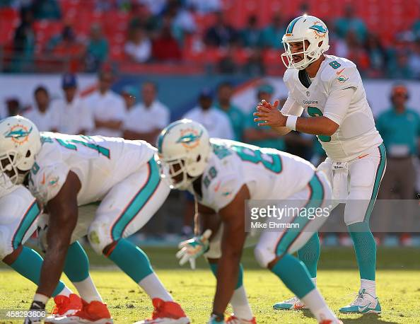 Matt Moore of the Miami Dolphins takes a snap during a game against the San Diego Chargers at Sun Life Stadium on November 2 2014 in Miami Gardens...