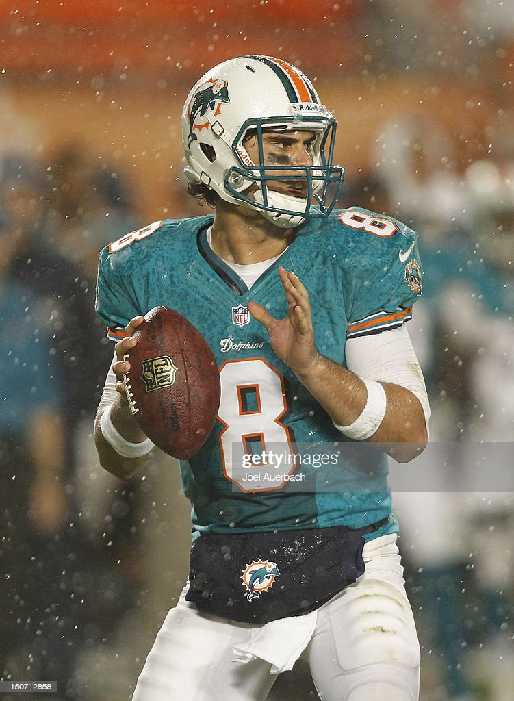 <a gi-track='captionPersonalityLinkClicked' href=/galleries/search?phrase=Matt+Moore+-+American+Football+Quarterback&family=editorial&specificpeople=15003303 ng-click='$event.stopPropagation()'>Matt Moore</a> #8 of the Miami Dolphins throws the ball against the Atlanta Falcons during a preseason game on August 24, 2012 at Sun Life Stadium in Miami Gardens, Florida. The Falcons defeated the Dolphins 23-6.