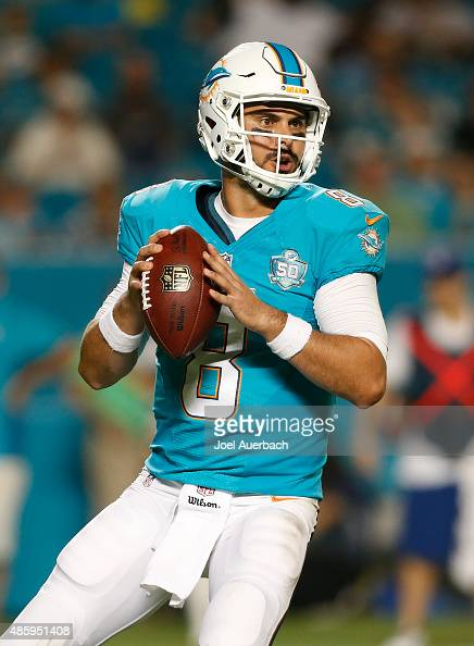 Matt Moore of the Miami Dolphins throws the ball against the Atlanta Falcons during a preseason game on August 29 2015 at Sun Life Stadium in Miami...