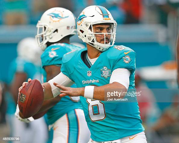 Matt Moore of the Miami Dolphins throws the ball prior to a preseason game against the Atlanta Falcons on August 29 2015 at Sun Life Stadium in Miami...