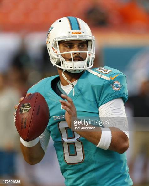 Matt Moore of the Miami Dolphins throws the ball prior to the preseason game against the Tampa Bay Buccaneers on August 24 2013 at Sun Life Stadium...