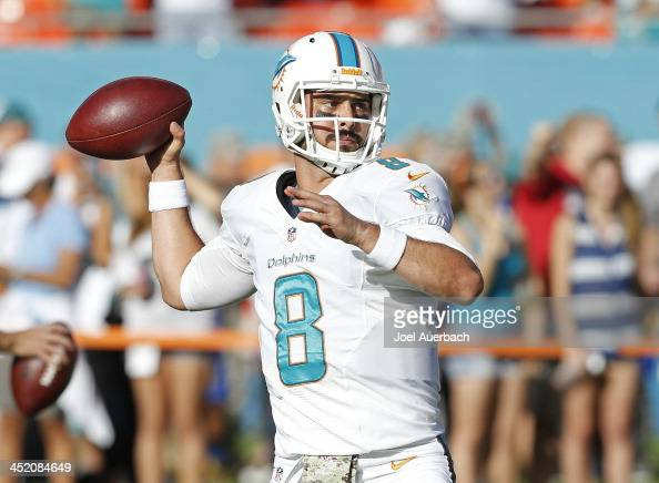 Matt Moore of the Miami Dolphins throws the ball prior to the game against the San Diego Chargers on November 17 2013 at Sun Life Stadium in Miami...